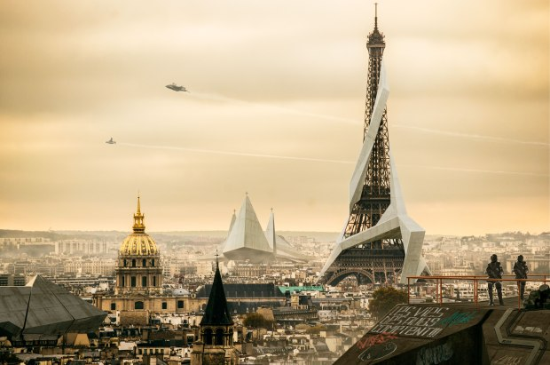 scifi science fiction sciencefiction scenery Paris 2029 year imaginative drawing airplanes spaceships flying over city creator duster132